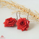 Rose earrings, vegan earrings